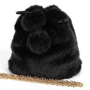 Handbags - Cute Black  Faux Fur Bucket Handbag w Pom Poms